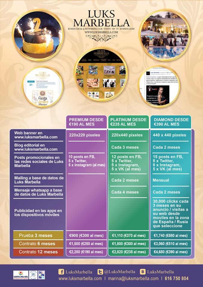 Luks Marbella servicios 2015-2016 tarifas