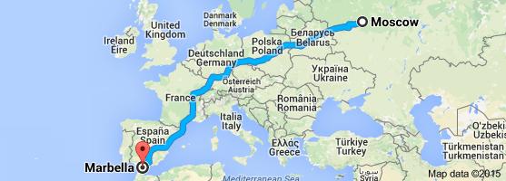 Путешествие из Москвы в Марбелью на автомобиле.